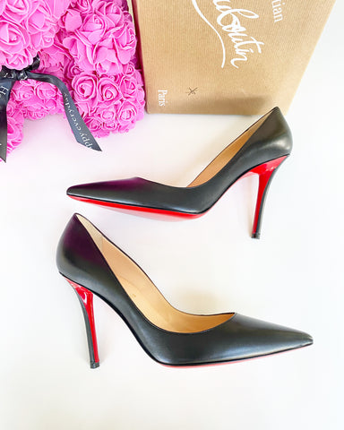CHRISTIAN LOUBOUTIN APOSTROPHY 100 BLACK LEATHER POINTED PUMP SHOES