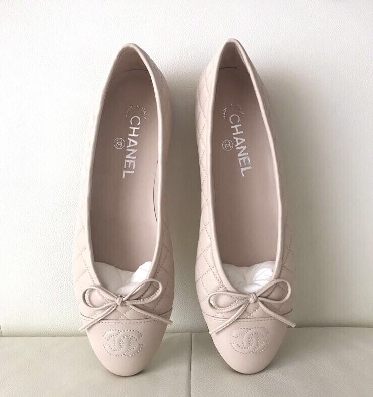 CHANEL BEIGE NUDE LEATHER QUILTED CAP TOE BALLET BALLERINA FLAT ... : chanel quilted shoes - Adamdwight.com