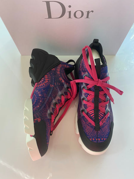 Dior D Connect Black Purple Pink Neoprene Lace Up Sneakers