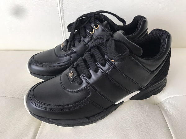 Chanel CC Logo Black Leather Lace Up Tennis Shoes Trainer Sneakers