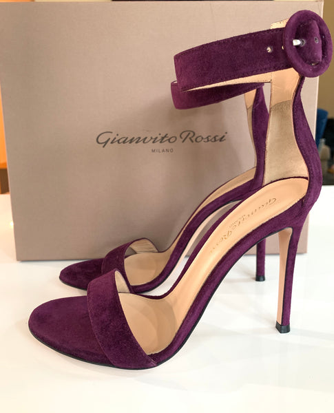 GIANVITO ROSSI PORTOFINO OPEN TOE PLUM PURPLE SUEDE ANKLE STRAP SANDALS