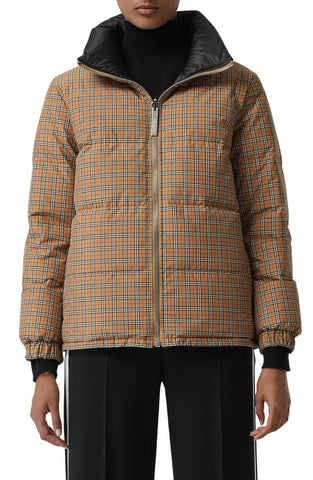 Burberry Reddich Vintage Check Reversible Down Jacket Yellow Brown Black