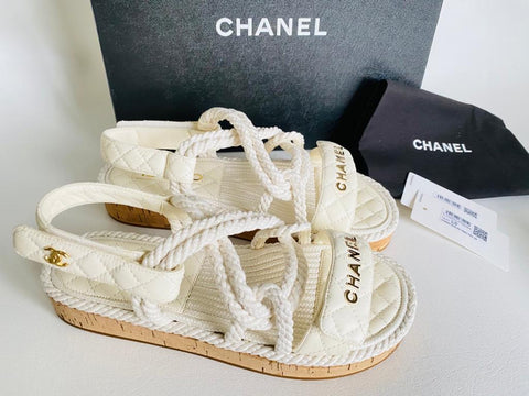 Chanel 20S Dad White Cord Rope Quilted CC Logo Strap Sandals