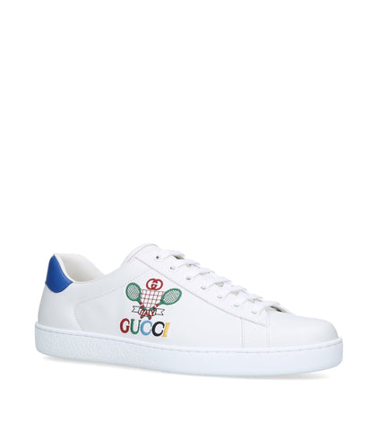 Gucci New Ace Tennis Raquette White Leather Blue Lace Up Sneakers