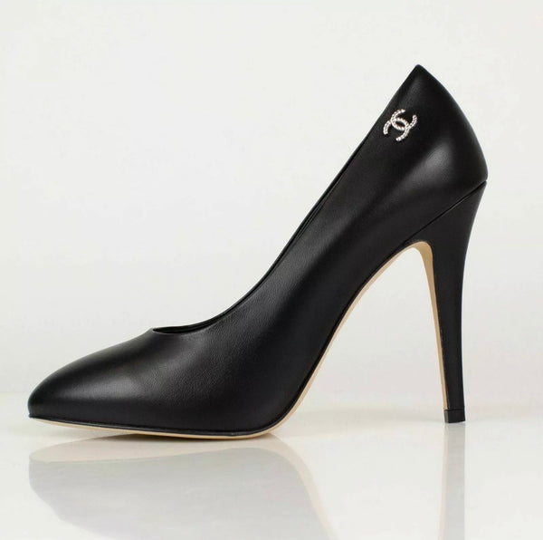 Chanel Classic Black Leather CC Silver Logo Pumps Shoes