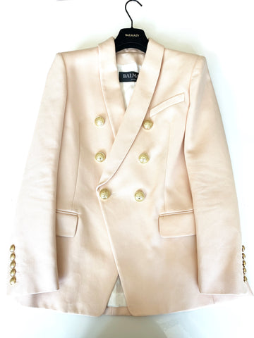 Balmain Pink Rose Double Breasted Button Cotton Jacket Blazer