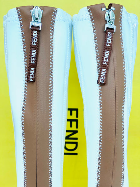 Fendi Stivale FFrame White Patent Leather Back Zip Pointed Toe Tall Boots