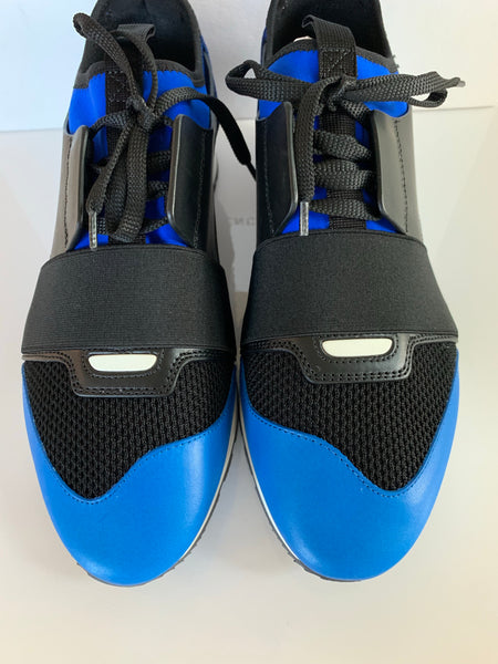 Balenciaga Race Runner Black Blue Mixed Media Lace Up Sneakers