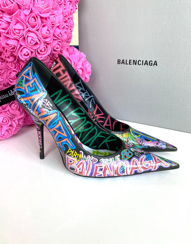 Balenciaga Graffiti Knife Black Pointed Pumps