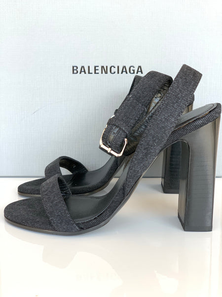 BALENCIAGA WRAPAROUND DENIM BLACK OPEN TOE  ANKLE SANDAL HEELS SHOES