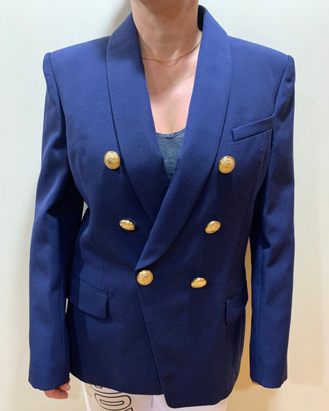 Balmain Veste Wool Double Breasted Six Gold Buttons Jacket Blazer