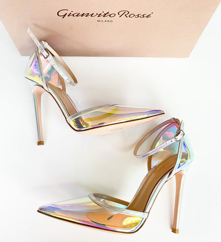 GIANVITO ROSSI HOLOGRAM MIRRORED PVC POINTED TOE ANKLE STRAP PUMP