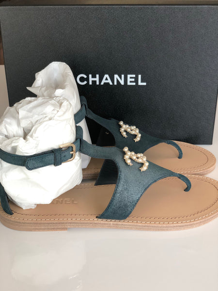 CHANEL BLUE PEARL CC LOGO BUCKLE GLADIATOR SANDALS SANDAL THONG SHOES