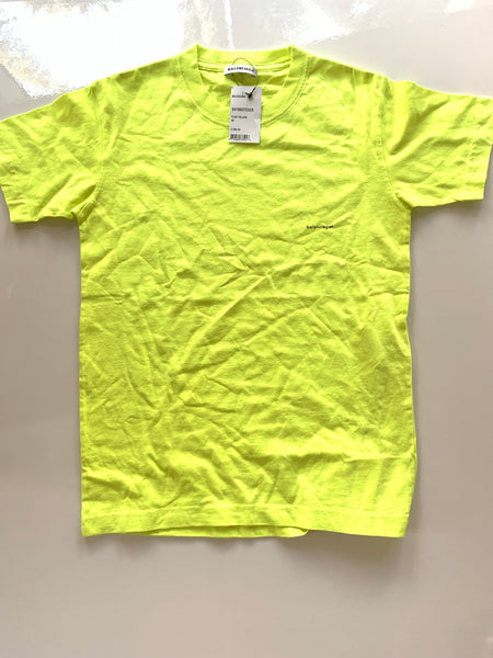 Balenciaga Shrunken Logo Bright Yellow Neon Tee T Shirt