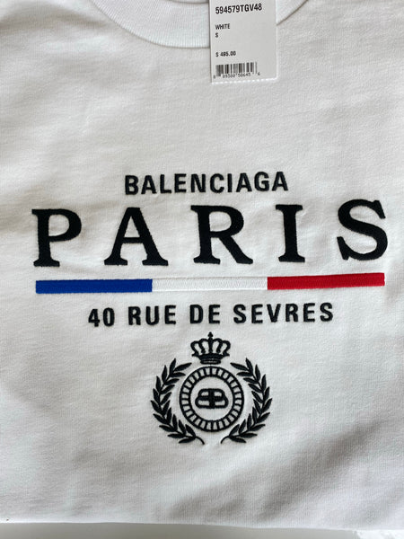 Balenciaga Paris Flag White Logo Blue Red Embroidered Cotton Oversized Men's Tee T Shirt