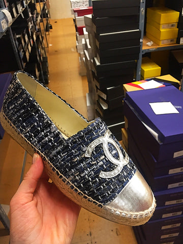 CHANEL BLACK SILVER LEATHER CAP TOE TWEED ESPADRILLES
