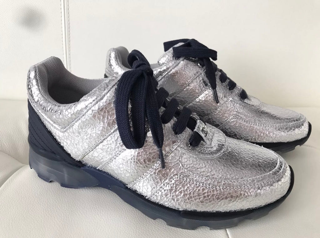 Chanel Silver Metallic Cracked Leather