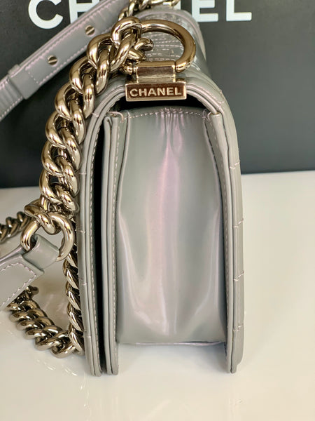 Chanel Iridescent Boy Medium Light Gray Purple PHW Leather Flap Handbag Bag 12P