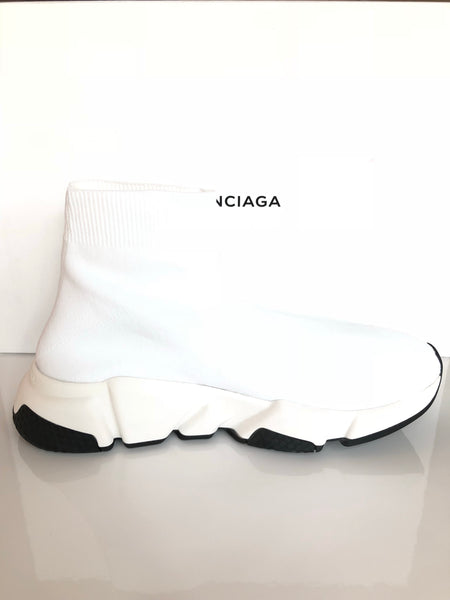 Balenciaga Speed Sock Stretch White Knit Logo High Top Sneakers Socks Shoes
