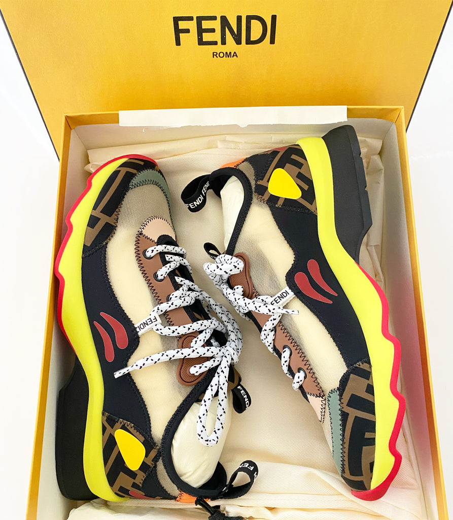 Fendi FF Print Freedom Patchwork Sneakers Mosaico Yellow Lace Up Multicolor