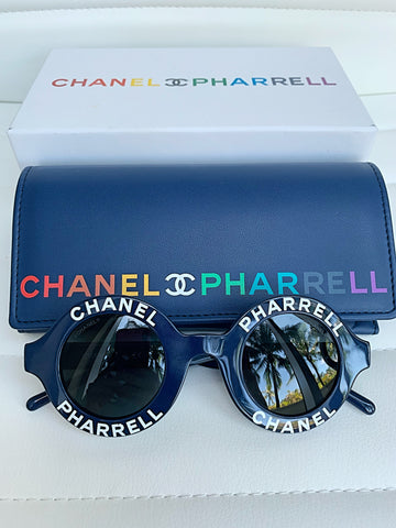 Chanel Pharrell Capsule Collection Blue Navy Round Vintage Sunglasses