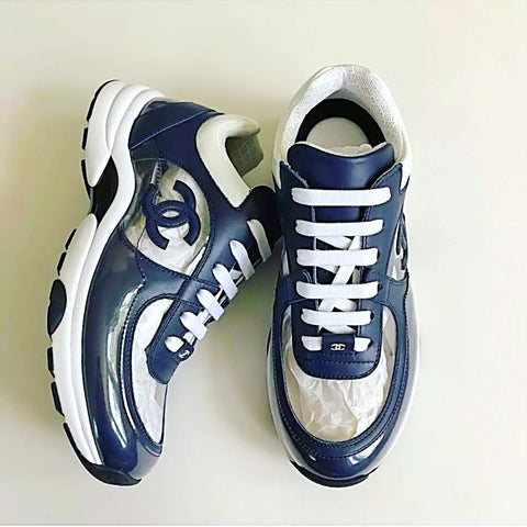 Chanel PVC Transparent CC Logo Dark Blue Lace Up Sneakers