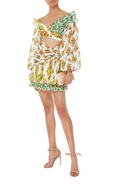 Zimmermann Gold Surfer Yellow Green Crepe Ruched Mini One Sleeve Dress