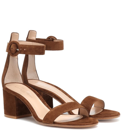 Gianvito Rossi Brown Texas Ankle Strap Sandals Open Toe