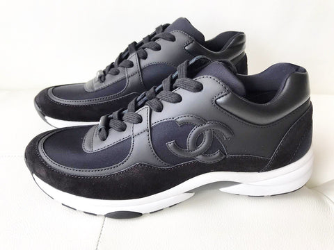 Chanel Black Leather Suede Classic CC Lace Up Sneakers