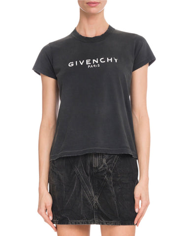 Givenchy Destroyed Black Logo Tee T-shirt Top