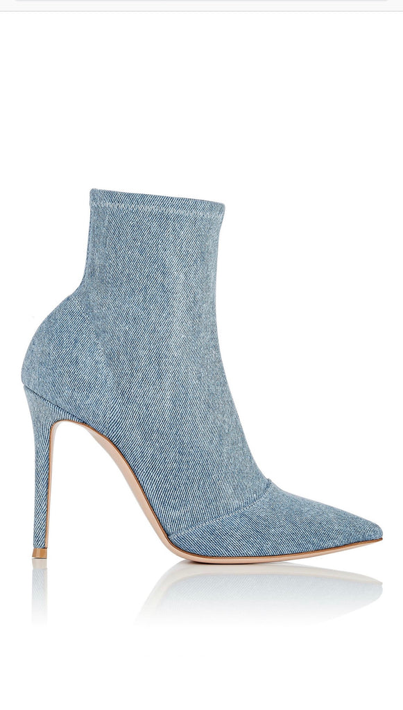 Gianvito Rossi Denim Blue Stretch Pull On Sock Fit Ankle Boots