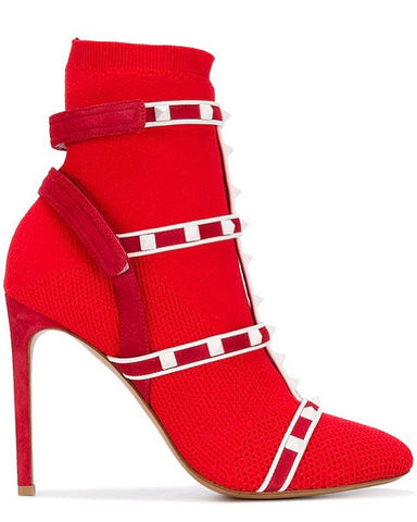 Valentino Red Knit Studded White Studs Velcro Pull On Multi Strap Ankle Boots