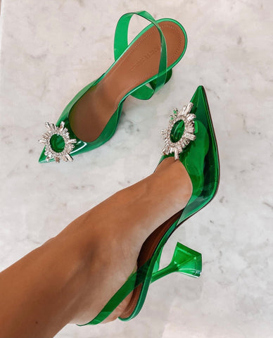 Amina Muaddi Begum PVC Green Clear Transparent Buckle Crystal Embellished Pumps