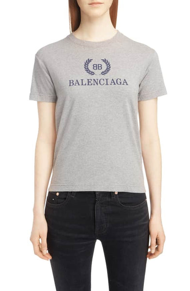 Balenciaga Wreath BB Logo Signature Gray Top T-shirt Tee