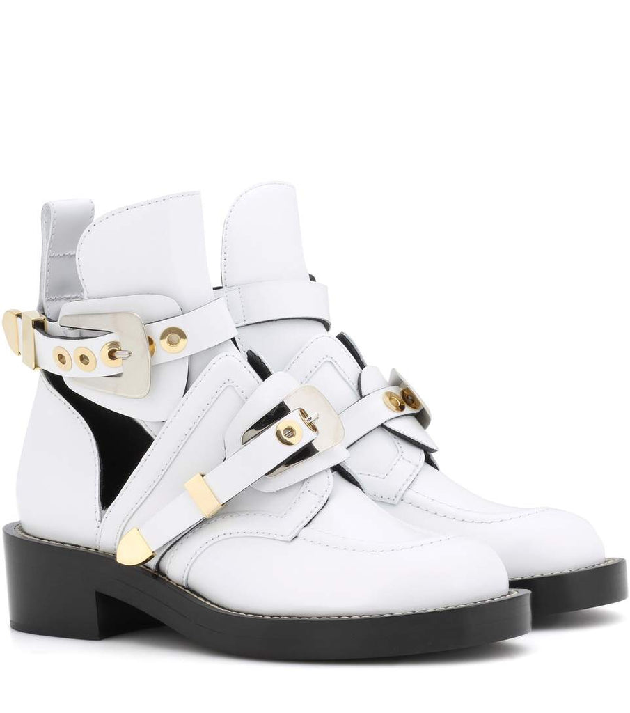 Balenciaga Ceinture White Black Leather Gold Tone Cut Out Buckle Ankle Boots Booties