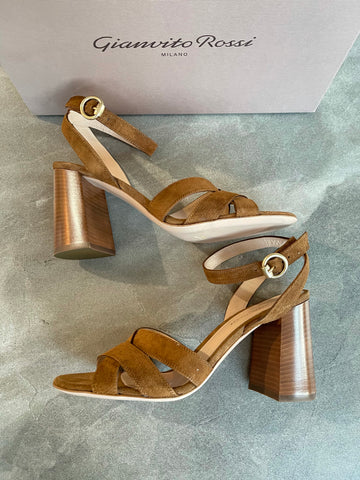 Gianvito Rossi Brown Beya Texas Ankle Strap Sandals Open Toe