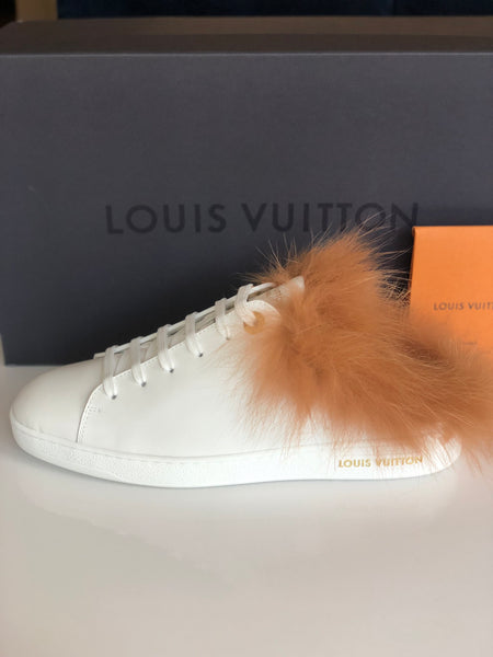 Louis Vuitton White Leather Fur Furry Low Top Lace Up Sneakers No Back