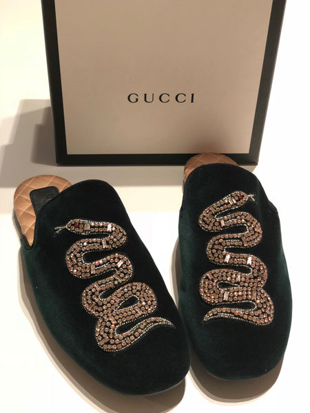 GUCCI LAWRENCE SNAKE CRYSTAL EMBOSSED GREEN VELVET SLIDES MULES SHOES FLATS
