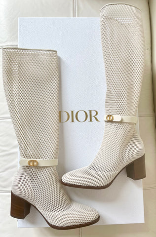 Dior Empreinte Montaigne 70 mm Off White Knee High Pull On Caged Boots