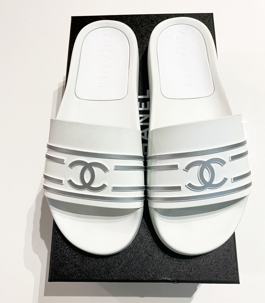 Chanel 19C White Silver PVC Rubber CC Logo Slides Pool Sandal