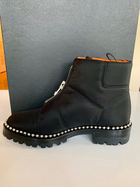 Alexander Wang Cooper Black Orange Studded Zip Ankle Boots