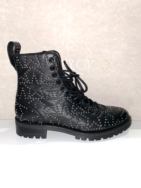 Jimmy Choo Cruz Star Studded Black Pull On Zip Lace Up Ankle Booties Boots