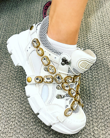 Gucci Flashtrek Embellished Logo Removable Strap Jeweled White Sneakers