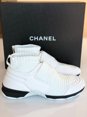 CHANEL CC LOGO WHITE BLACK STRETCH HIGH TOP SNEAKERS SOCKS SHOES TRAINERS