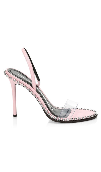 Alexander Wang Nova Studded Leather Pale Pink PVC Transparent Slingback Sandals Shoes