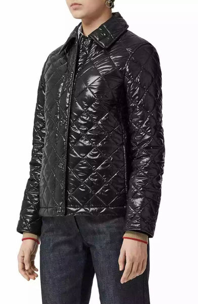 Burberry Heathfield Quilted Puffer Laque Black Quilted Diamond Jacket