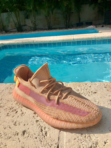 Yeezy Clay Beige Orange Neon 350 Boost Sneakers