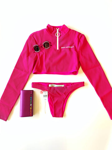 Off-white Pink Fuchsia Ribbed Knit Zip Long Sleeves Two-piece Swimsuit Set