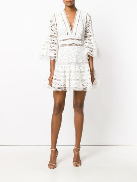 Zimmermann Ivory Lovelorn Flutter Lace V Neck Flare Dress