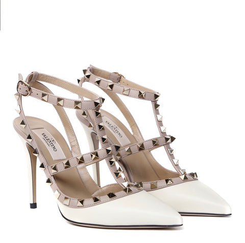 VALENTINO GARAVANI ROCKSTUD ROCKSTUDS IVORY LEATHER STUD POINTED TOE PUMPS PUMP SHOES HEEL SANDALS